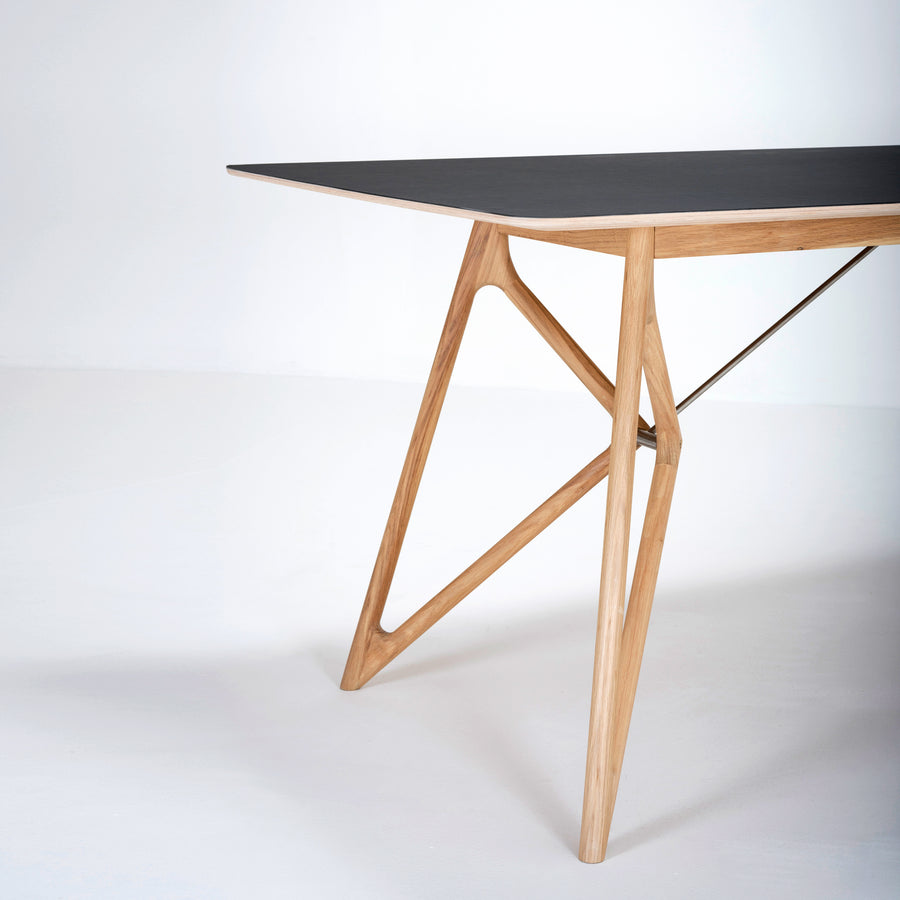 Gazzda Tink Table in solid Oak with Black Linoleum Top, 2