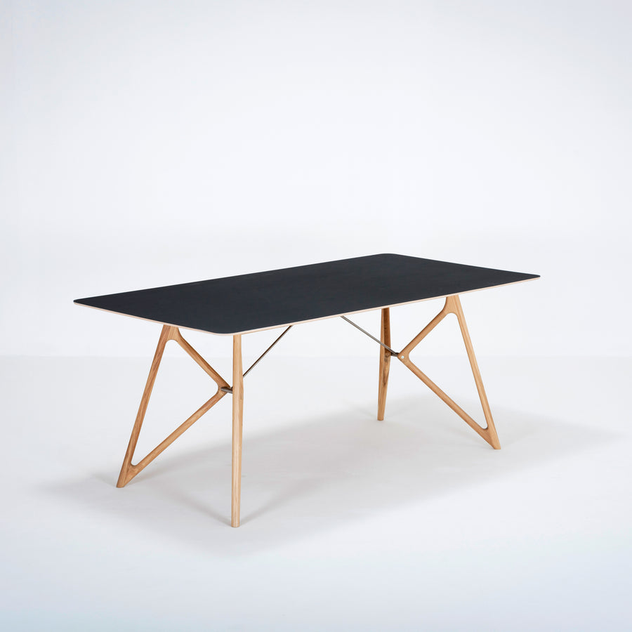 Gazzda Tink Table in solid Oak with Black Linoleum Top | Spencer Interiors