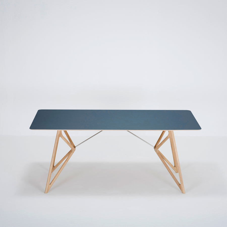 Gazzda Tink Table in solid Oak with Smokey Blue Linoleum Top | Spencer Interiors