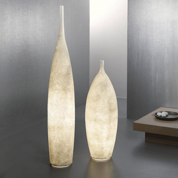 In-es Tank illuminated floor vases, turned on, made in Italy