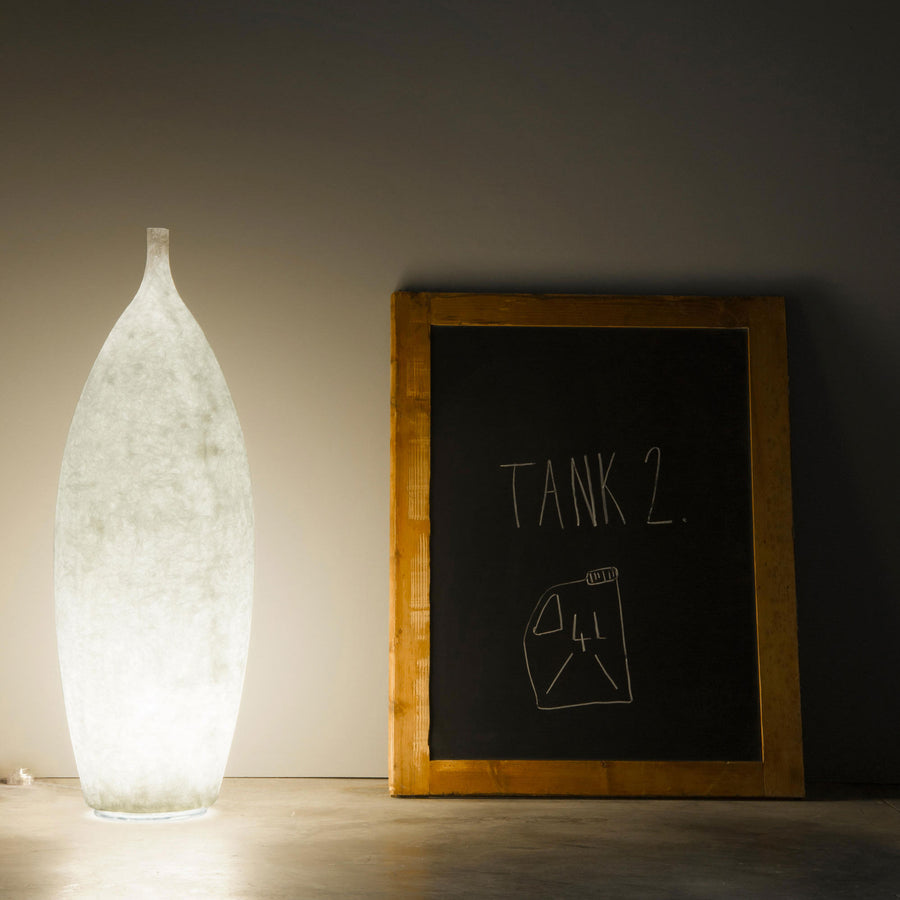In-es Tank 2 illuminated floor vase, turned on, made in Italy