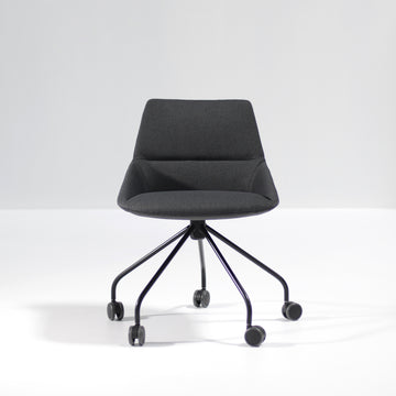 Inclass Dunas XS Swivel Trestle Base Armchair with Castors, front, © Spencer Interiors Inc.