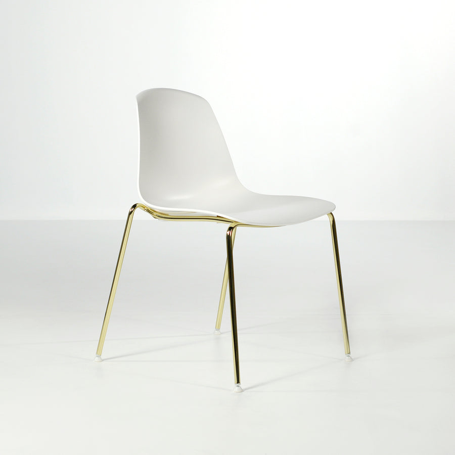 Luxy Italy, Special Edition Epoca Chair White, Brass, © Spencer Interiors Inc.