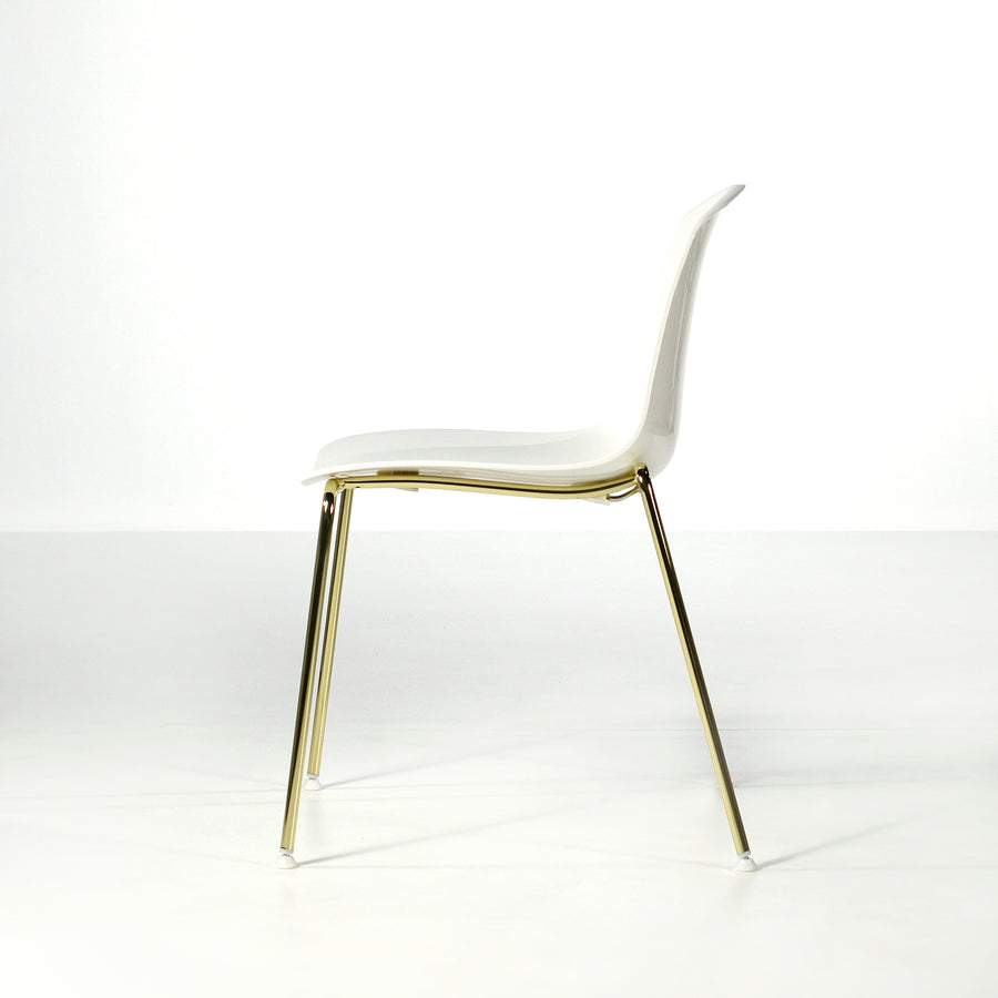 Luxy Italy, Special Edition Epoca Chair White, Brass 3, © Spencer Interiors Inc.