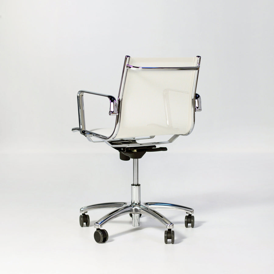 Luxy Light, Mesh Shell, Medium Back Armchair, back turned, © Spencer Interiors Inc.