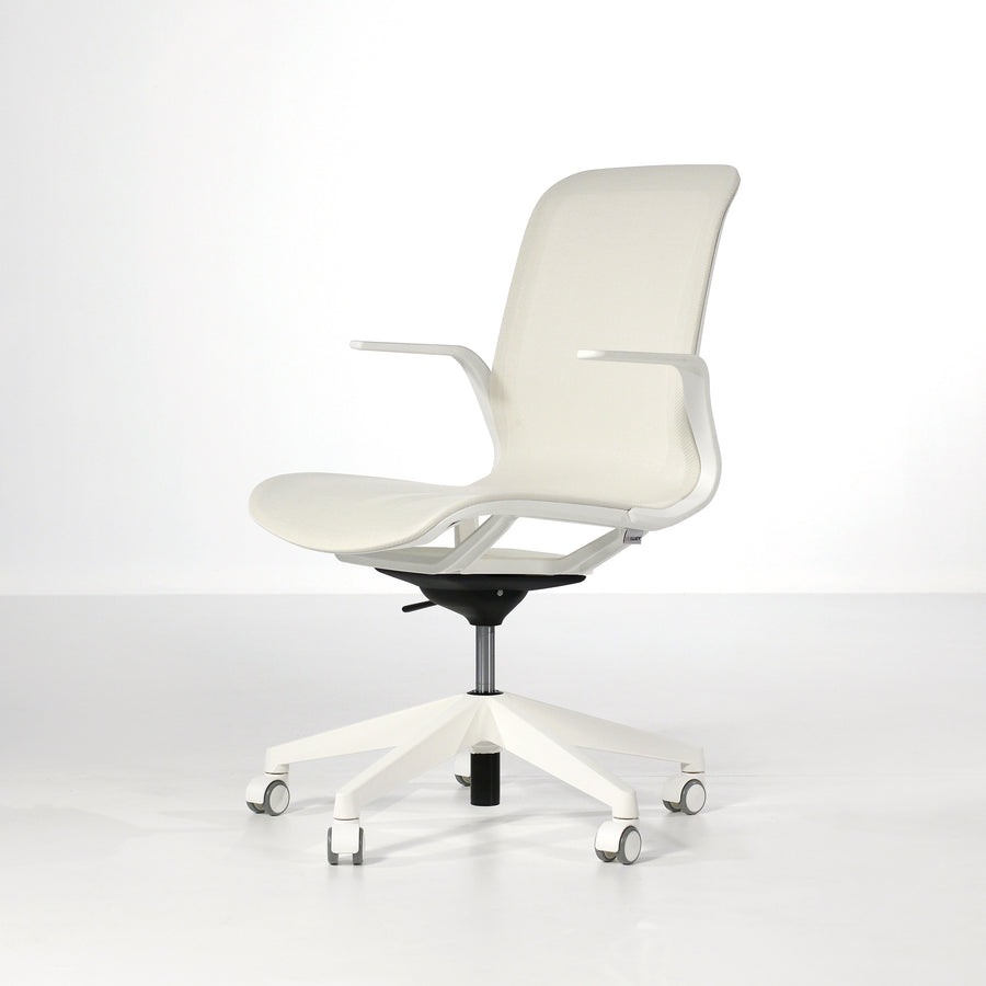 Luxy SmartLight Armchair in White, front turned - made in Italy, © Spencer Interiors Inc.