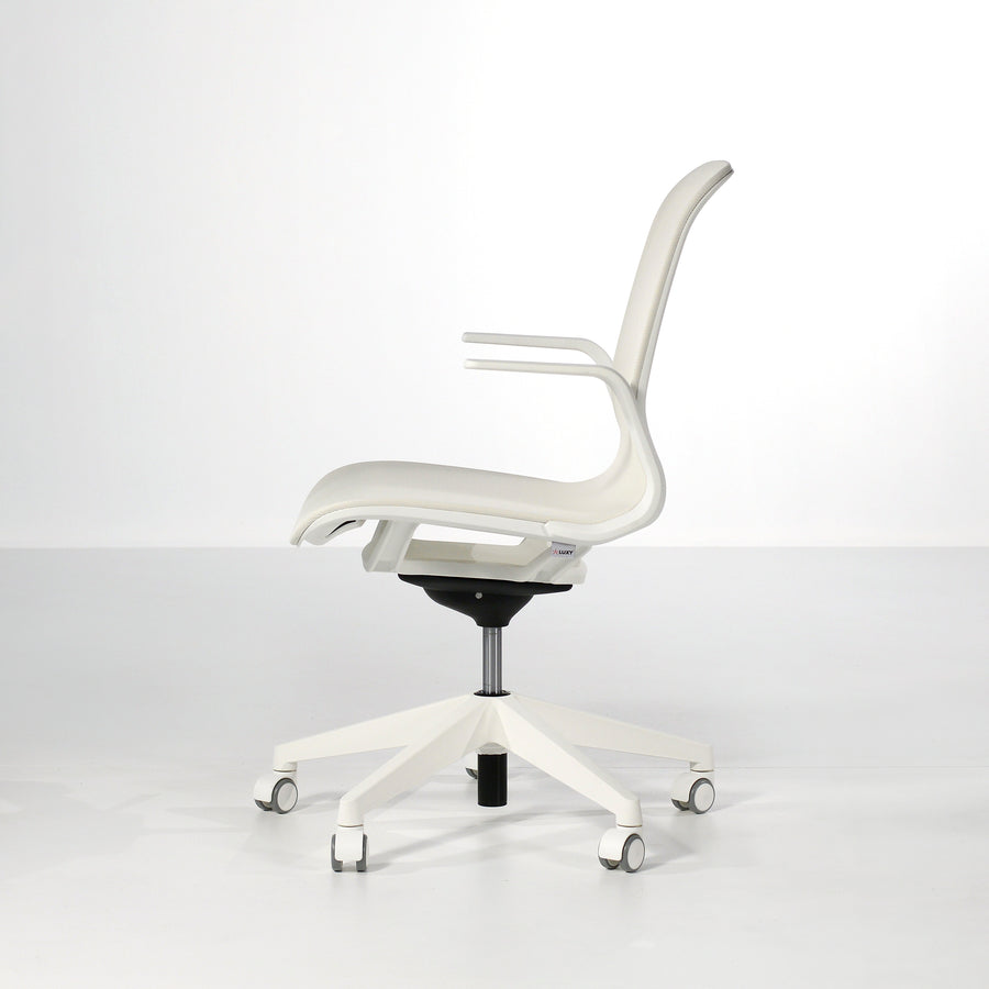 Luxy SmartLight Armchair in White, profile - made in Italy, © Spencer Interiors Inc.