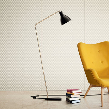 Tato Italia, Lady V Inclined Lamp, Brass, Black Shade