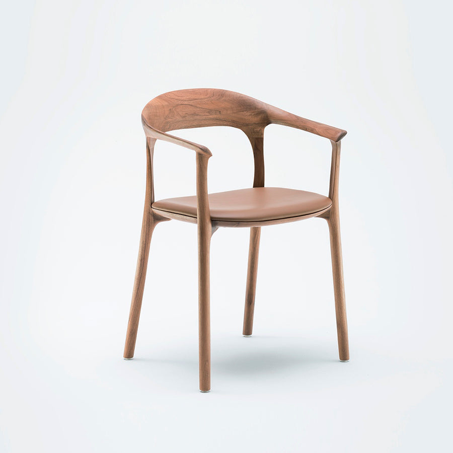 MS&Wood Elle Armchair in Solid Walnut, turned front  | Spencer Interiors