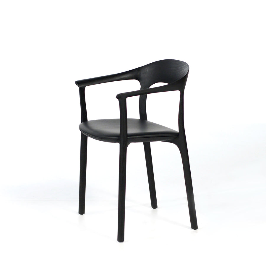 MS&Wood Elle Armchair in Solid Black Ash, turned profile | © Spencer Interiors