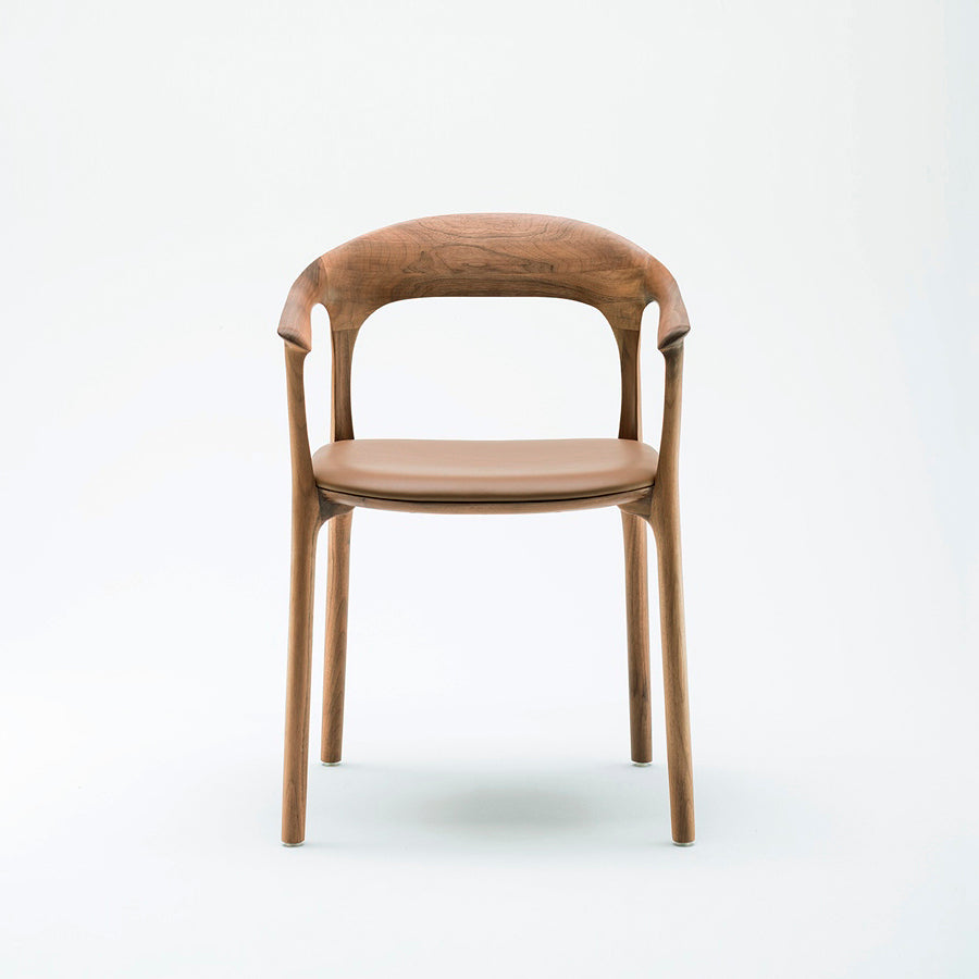 MS&Wood Elle Armchair in Solid Walnut, front  | Spencer Interiors