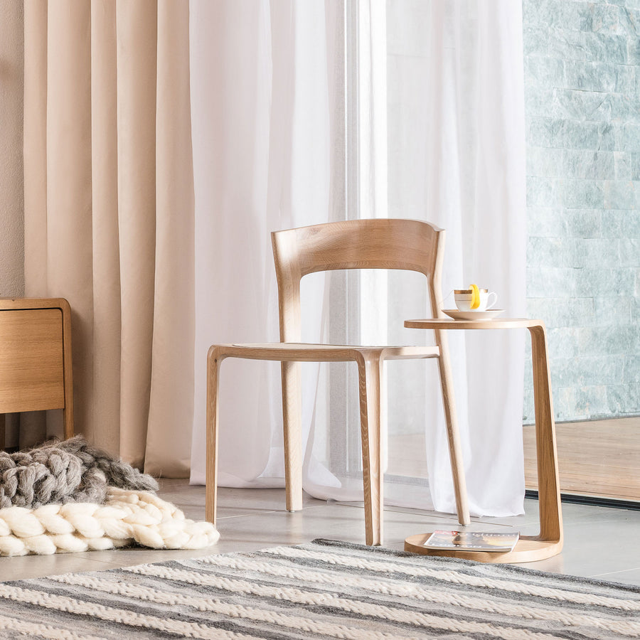 MS&Wood, Primum Solid Wood Oval Side Table in solid wood, ambient | Spencer Interiors