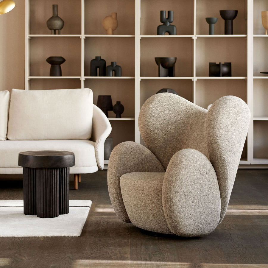 Norr11 Gear Side Table, ambient with Big Big Swivel Chair | Spencer Interiors