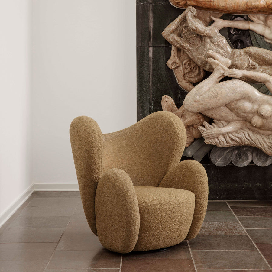 Norr11 Denmark, The Big Big Swivel Chair in Barnum Mustard - Spencer Interiors