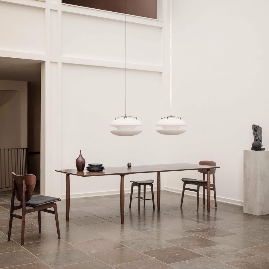 Norr11 Denmark, Oku Modern Dining Table in Dark Stained Oak, ambient with Elephant Chair  | Spencer Interior
