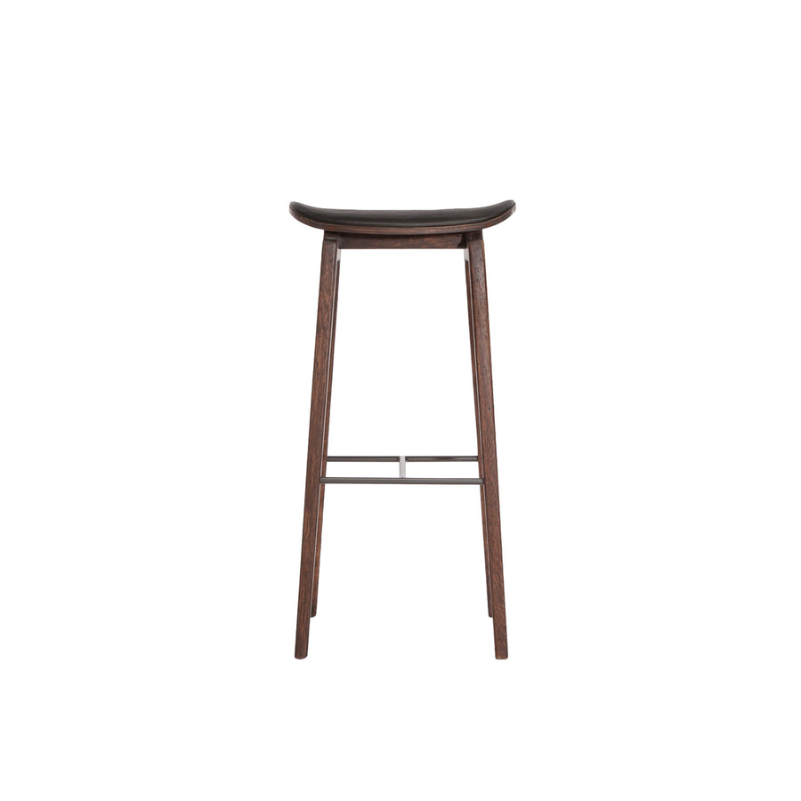 Norr11 NY11 Stool in Dark Stained Oak, Black Leather | Spencer Interiors