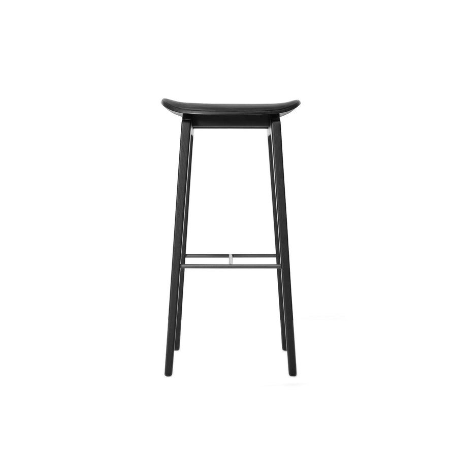 Norr11 NY11 Stool in Black Oak, Black Leather | Spencer Interiors