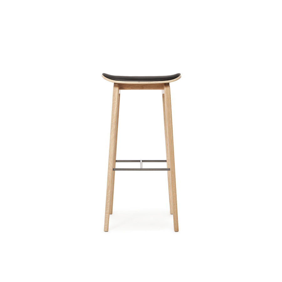 Norr11 NY11 Stool in Natural Oak, Black Leather  | Spencer Interiors