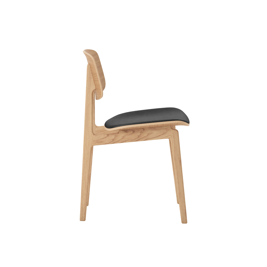 Norr11 Denmark, NY11 Dining Chair  Natural Oak, Black Leather, profile | Spencer Interiors