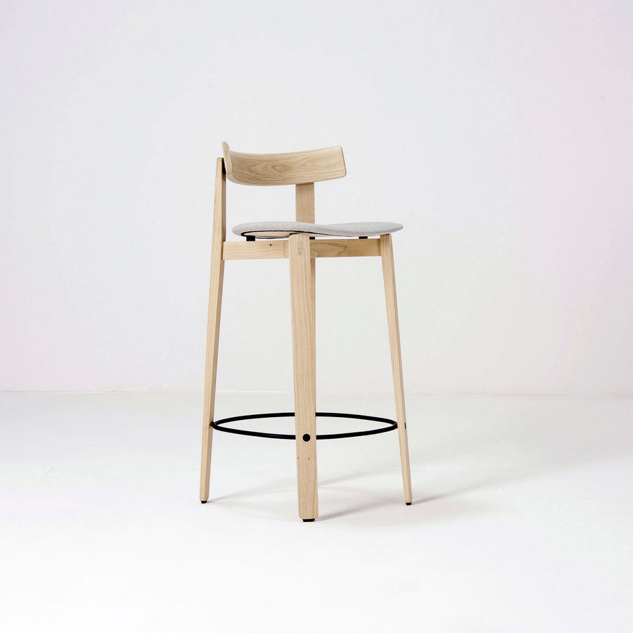Gazzda Nora Backrest Counter Stool in solid Oak, front turned