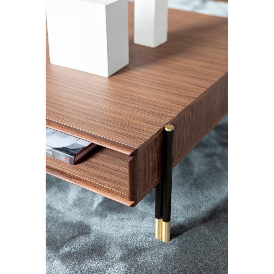Porada Bayus Coffee Table with Drawers, corner detail 2