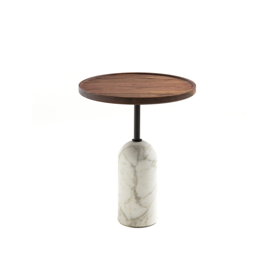 Porada Ekero Round Table in solid Walnut & Marble