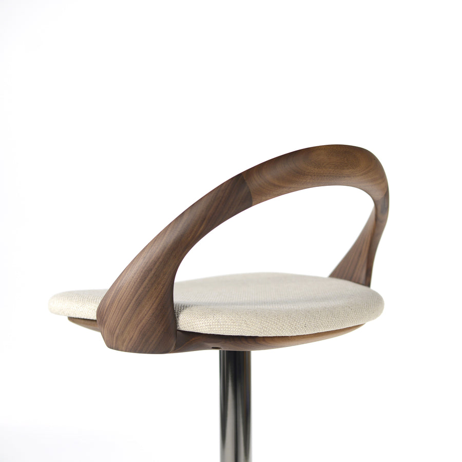 Porada Ester Stool in solid Walnut, detail, made in Italy, © Spencer interiors Inc.