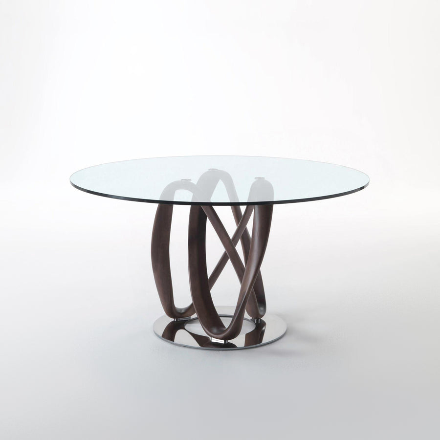 Porada Infinity Table with base in solid Ash, made in Italy