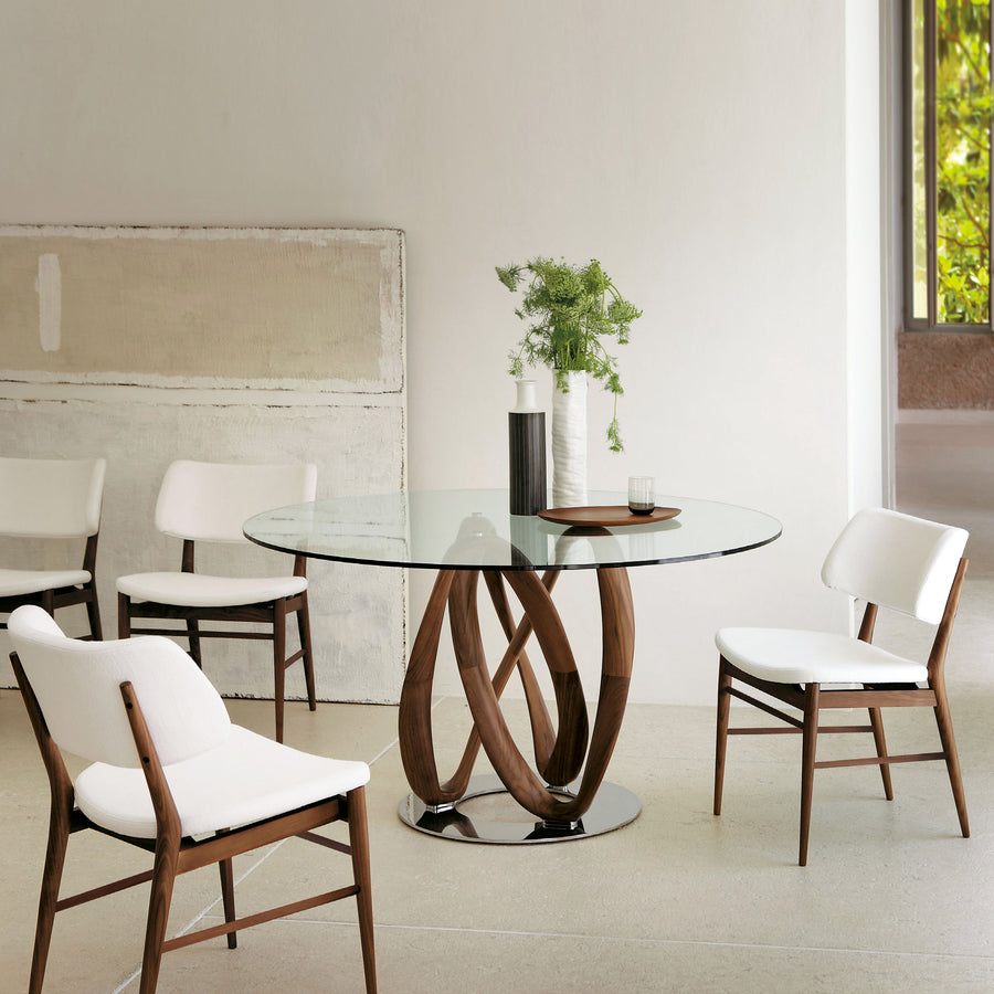 Porada Infinity Table with base in solid Walnut, made in Italy