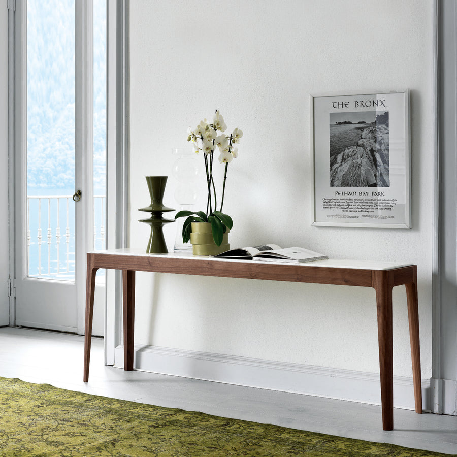 Porada Ziggy 8 Console in Solid Wood and Marble