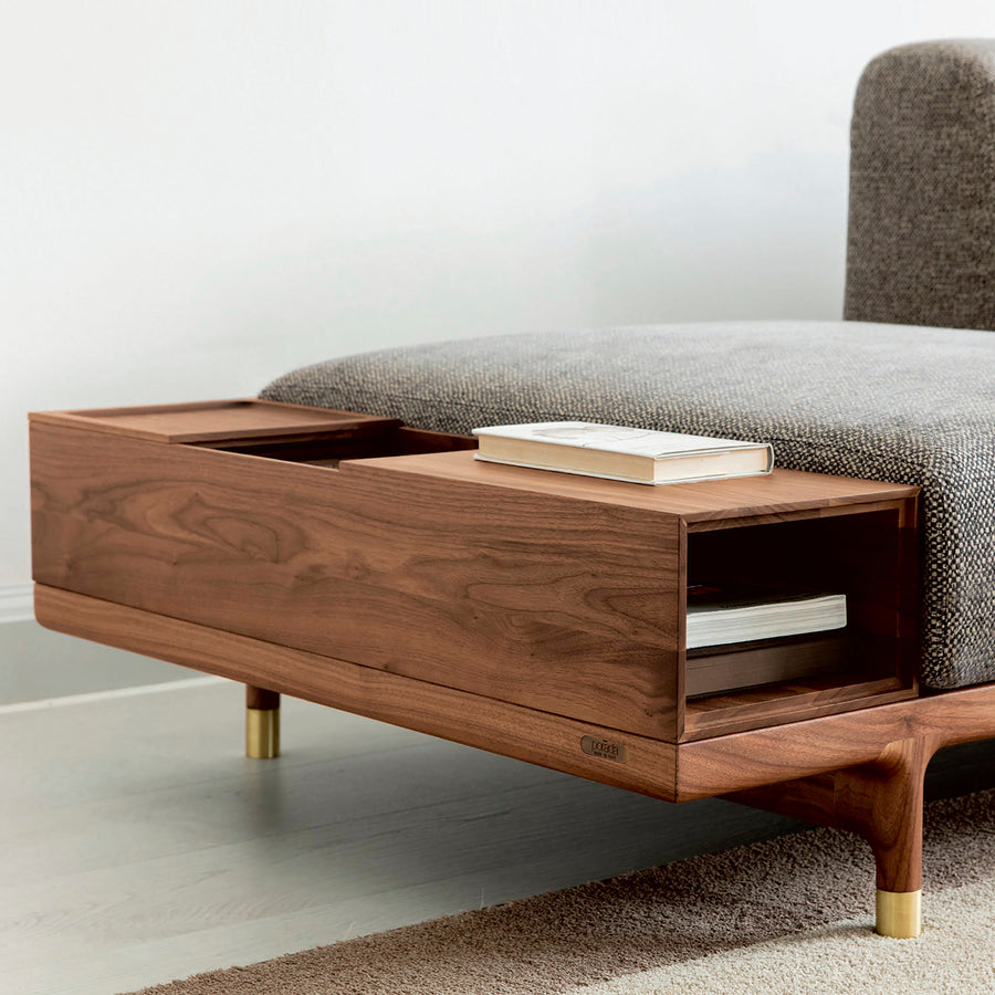 Porada Argo, Modern Seating System, Made in Italy, Walnut container detail | Spencer Interiors
