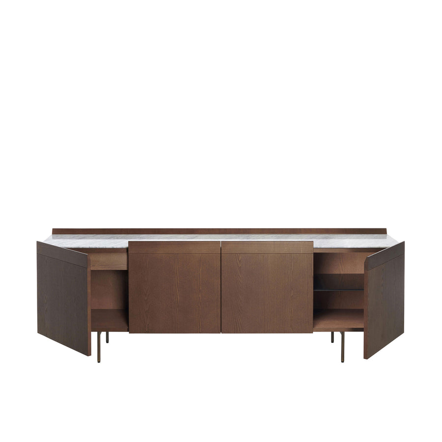 Potocco Avant 4 Door Sideboard in Ash with Marble Top - made in Italy