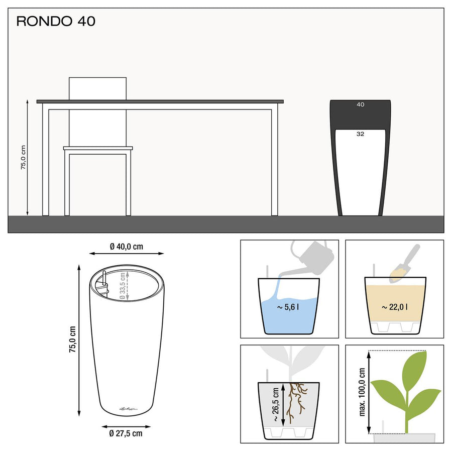 Rondo Self Watering Planter dimensions, made in Germany | Spencer Interiors