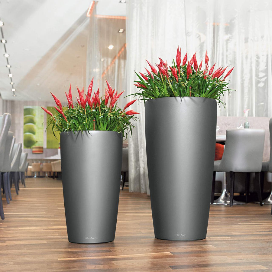 Rondo Self Watering Charcoal Planters, made in Germany | Spencer Interiors