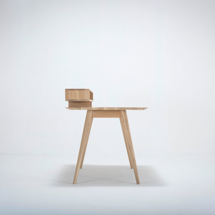 Stafa Desk & Shelf In Solid Oak