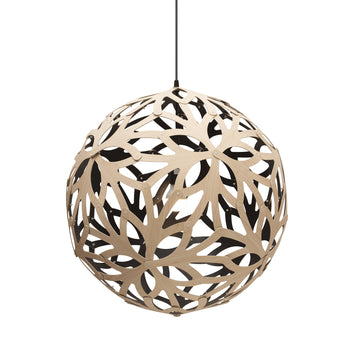 David Trubridge Floral Pendant, Natural, Black - Spencer Interiors