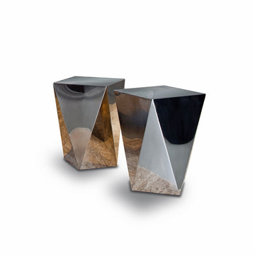 Vibieffe Diamond Side Table, mirror finish polished steel, made in Italy | Spencer Interiors
