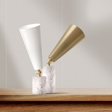 Tato Italia, Vox Table Lamps with Carrara Marble Base