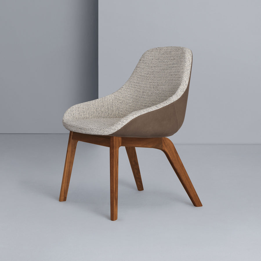 Zeitraum Morph Dining Chair, Walnut, front turned
