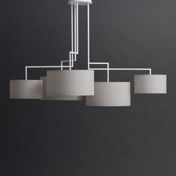 Zeitraum Noon 5 Suspended Lamp, Matt White frame, Light Grey Shade