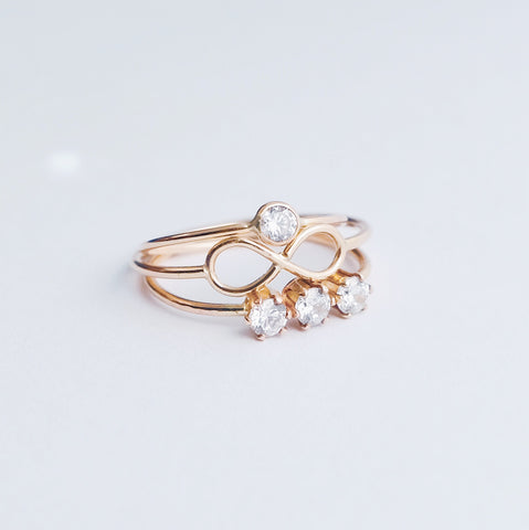 stackable cz rings and infinity rings by FBWL