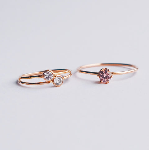 stackable stella rings and six prong morganite engagement ring