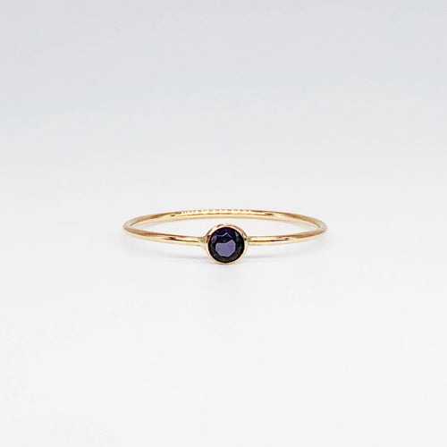 3mm Amethyst Solitaire | 14kt Gold Filled Stackable February Birthstone Ring