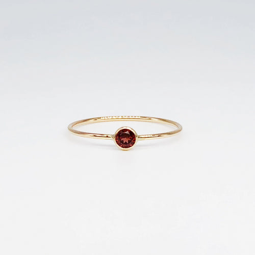 3mm Garnet Solitaire | 14kt Gold Filled Stackable January Birthstone Ring