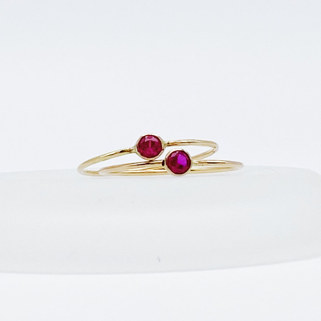 Stackable Ruby Solitaire Ring | 14kt Gold Filled 3mm Red Ruby Gemstone Stacking Ring