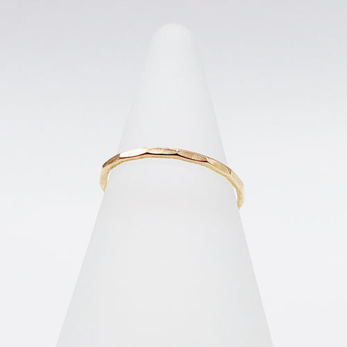 Facet Ring | 14kt Gold Filled Stackable Hammered Band