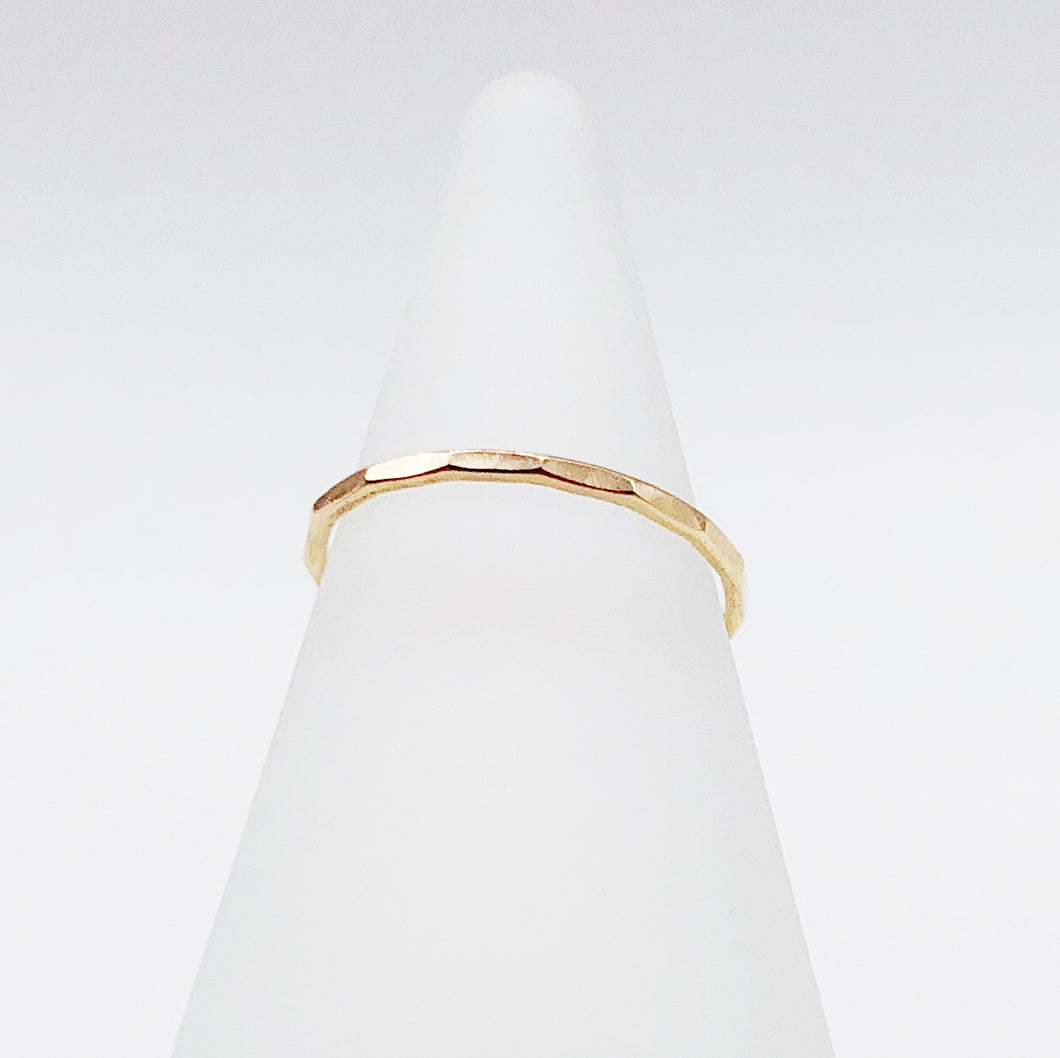 Facet Midi Ring | 14kt Gold Filled Hammered Stackable Knuckle Ring