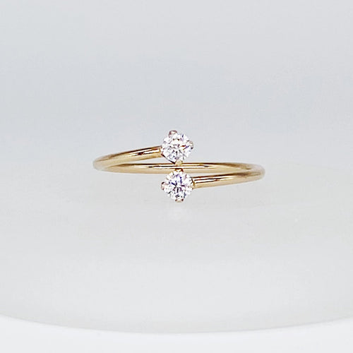 Gemini Ring | 14kt Gold Filled 3mm Clear CZ Overlap Gap Ring