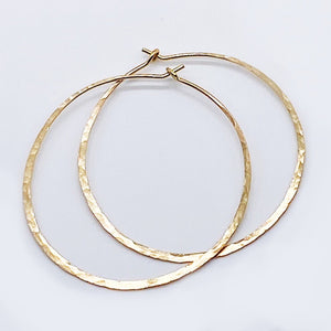 1.5 Inch Hoops | 14kt Gold Filled Hammered Hoop Earrings