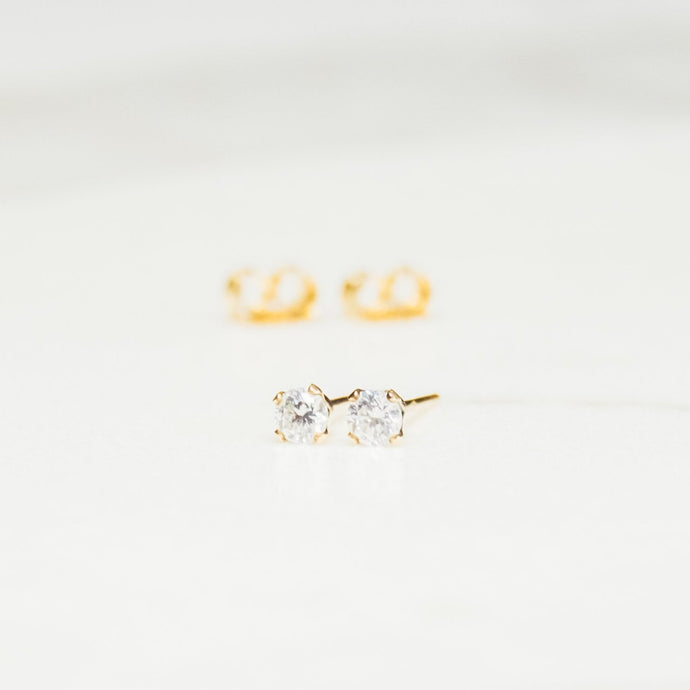 Stella Earrings - Mini Clear Gemstone Studs